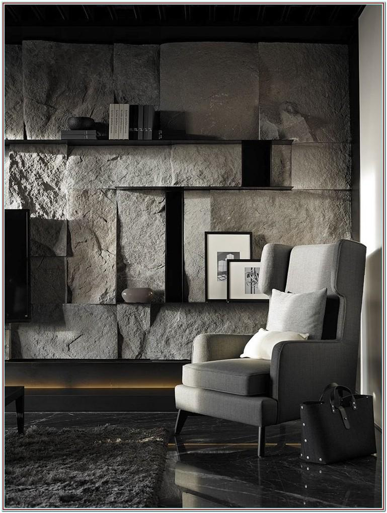 Living Room Interior Stone Accent Wall