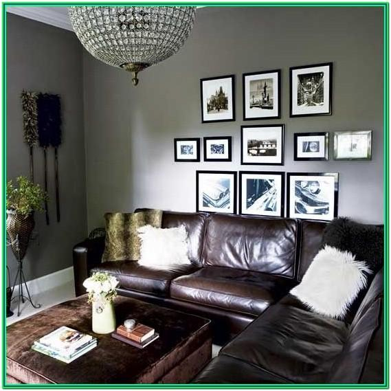 Living Room Light Grey Walls Brown Couch