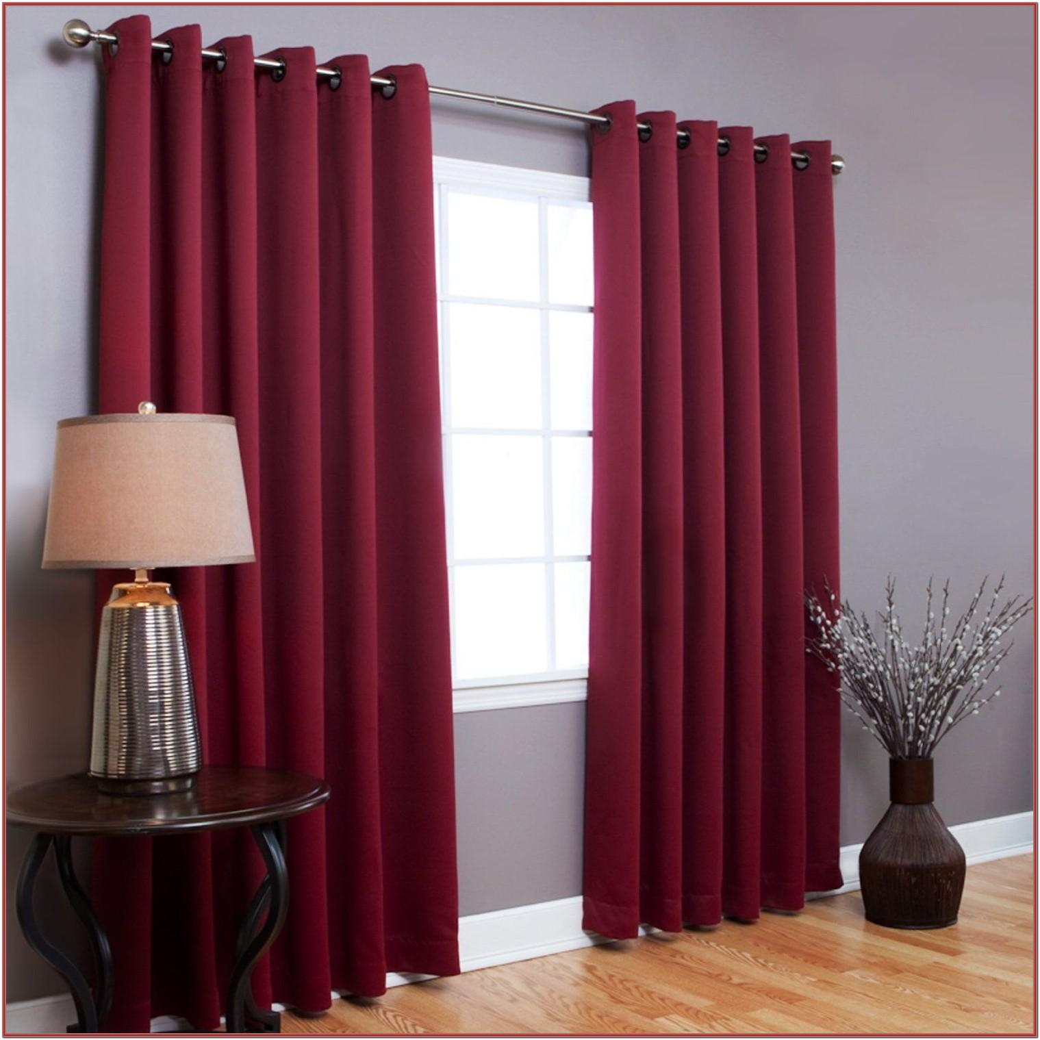 Living Room Red And Black Curtains