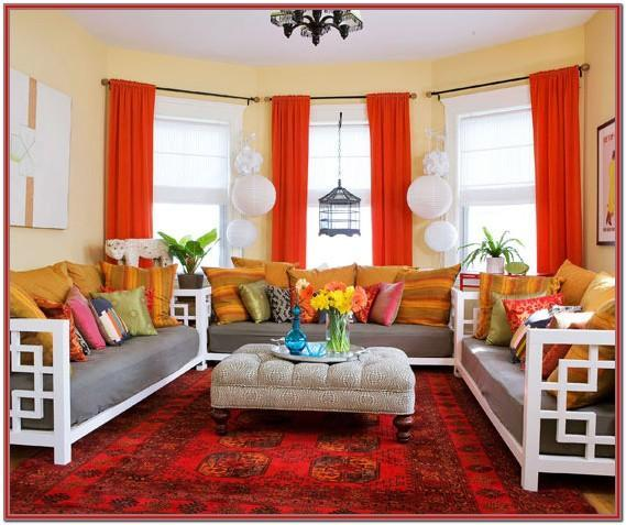 Living Room Red And Cream Curtains