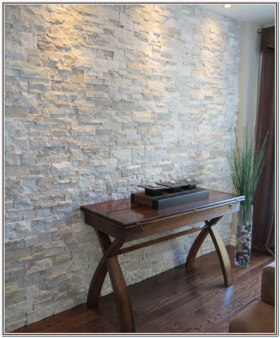 Living Room Stone Accent Wall With Tv