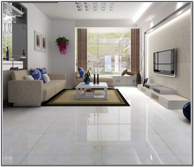 Living Room White Floor Tiles Design