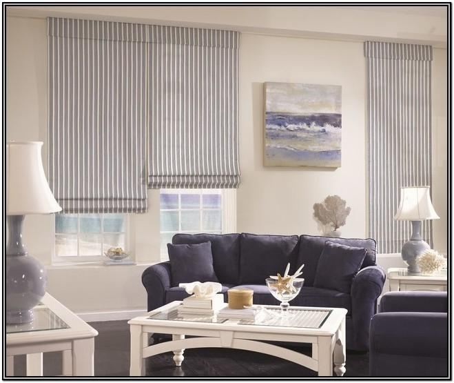 Living Room White Roman Shades