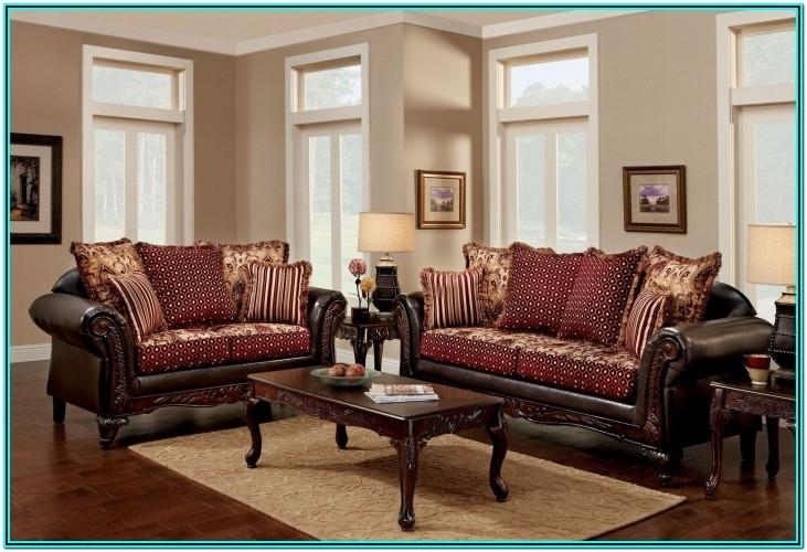 Living Room With Burgundy Sofa