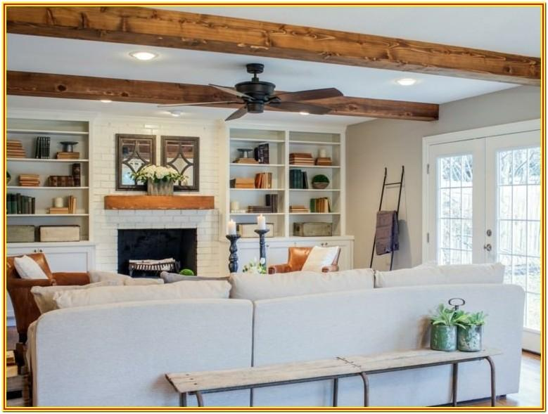 Living Room Wood Ceiling Beams