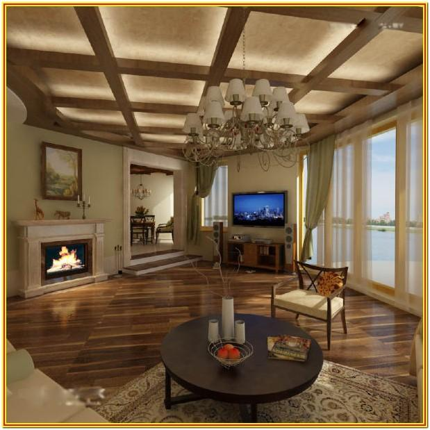 Living Room Wood Ceiling Panels