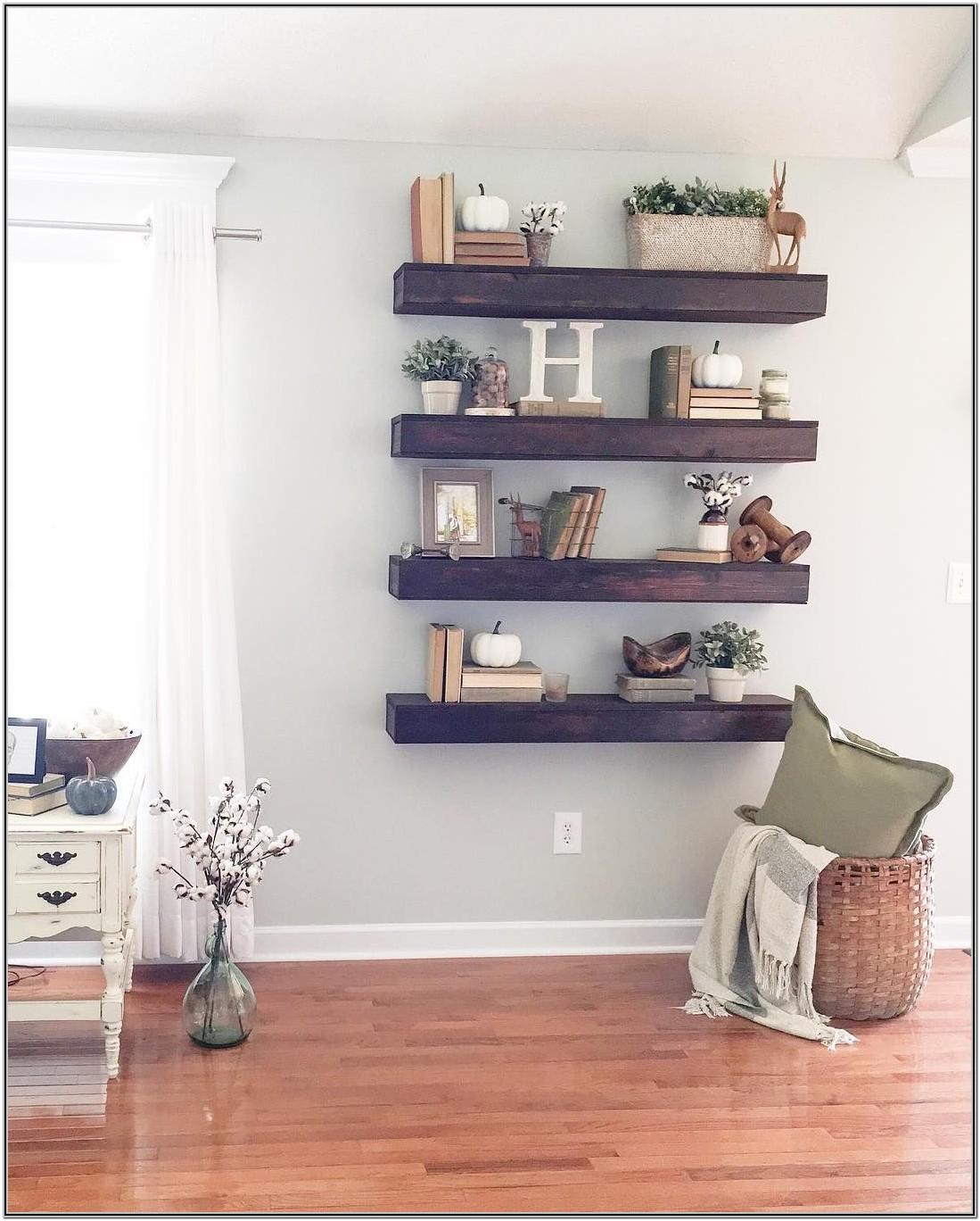 Living Room Wooden Wall Decor Shelves