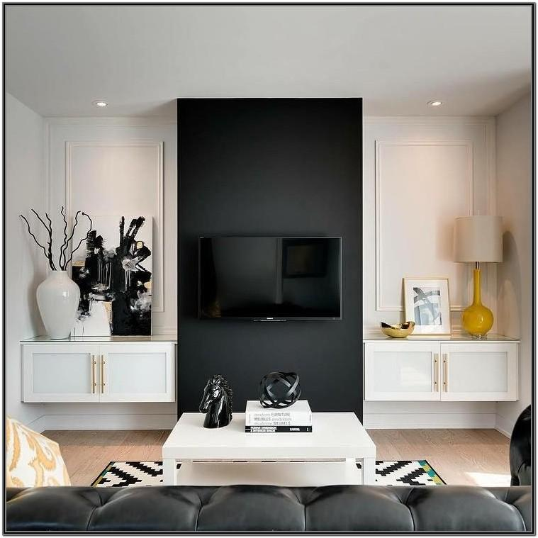 Modern Black And White Living Room With Accent Color