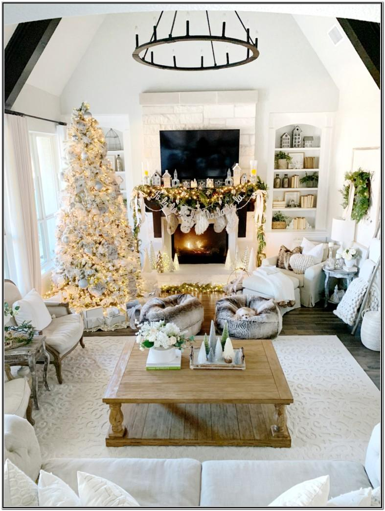 Modern Farmhouse Christmas Decorated Living Room