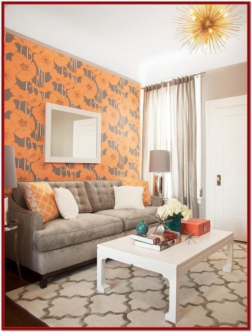 Modern Gray And Orange Living Room