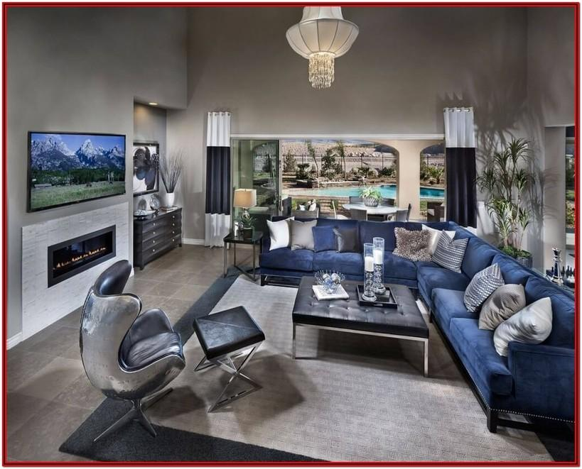 Modern Grey And Navy Blue Living Room