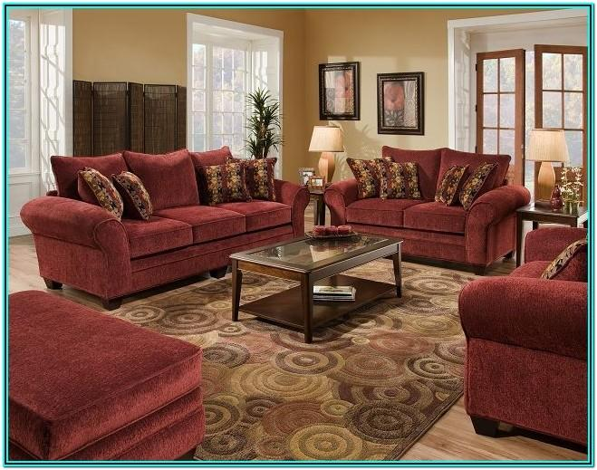 Modern Living Room With Burgundy Sofa