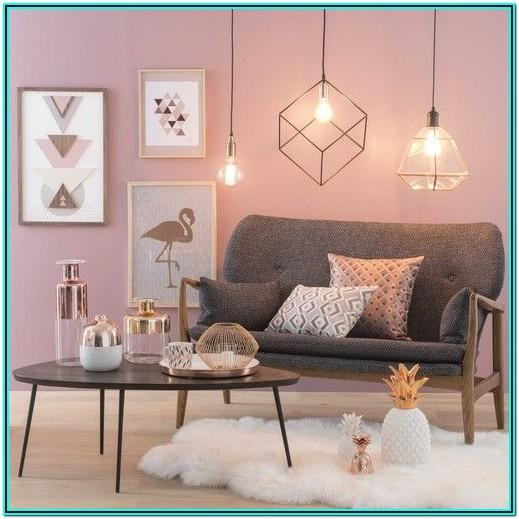 Modern Pink And Gold Living Room
