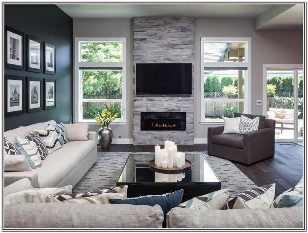 Modern Stone Accent Wall Living Room