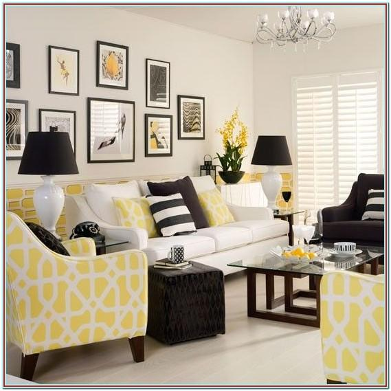 Modern Teal And Yellow Living Room