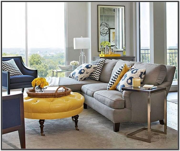 Navy Blue Brown And Grey Living Room