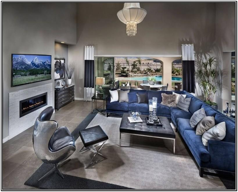 Navy Blue Gray And Yellow Living Room