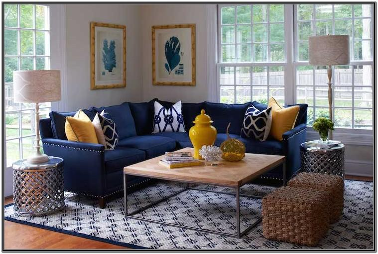 Navy Blue Mustard And Grey Living Room