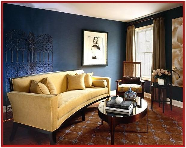 Navy Blue Yellow Gray Living Room