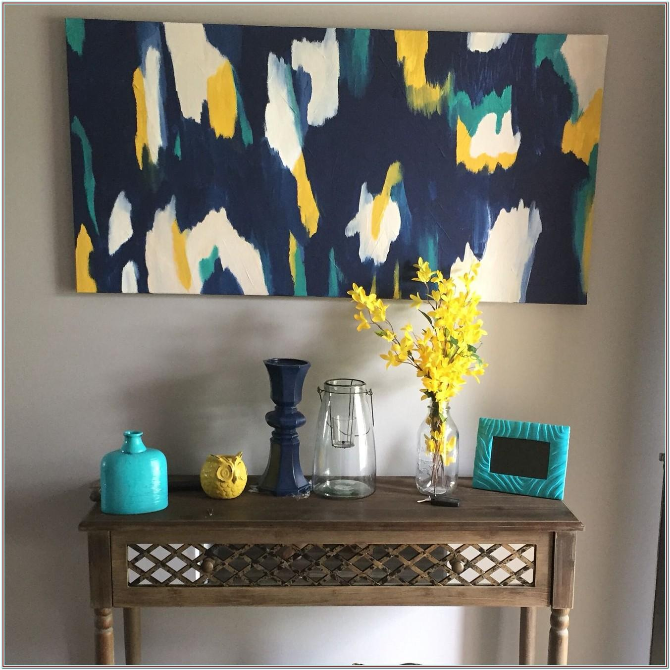 Navy Teal And Yellow Living Room