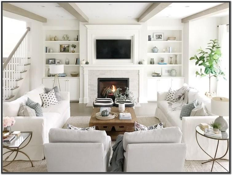 Open Living Room Layout With Fireplace