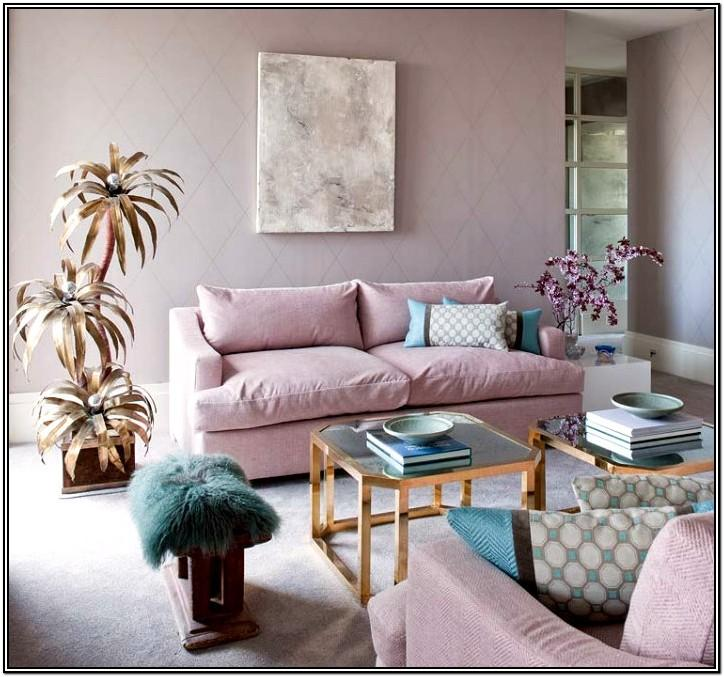 Pink Green And Gold Living Room