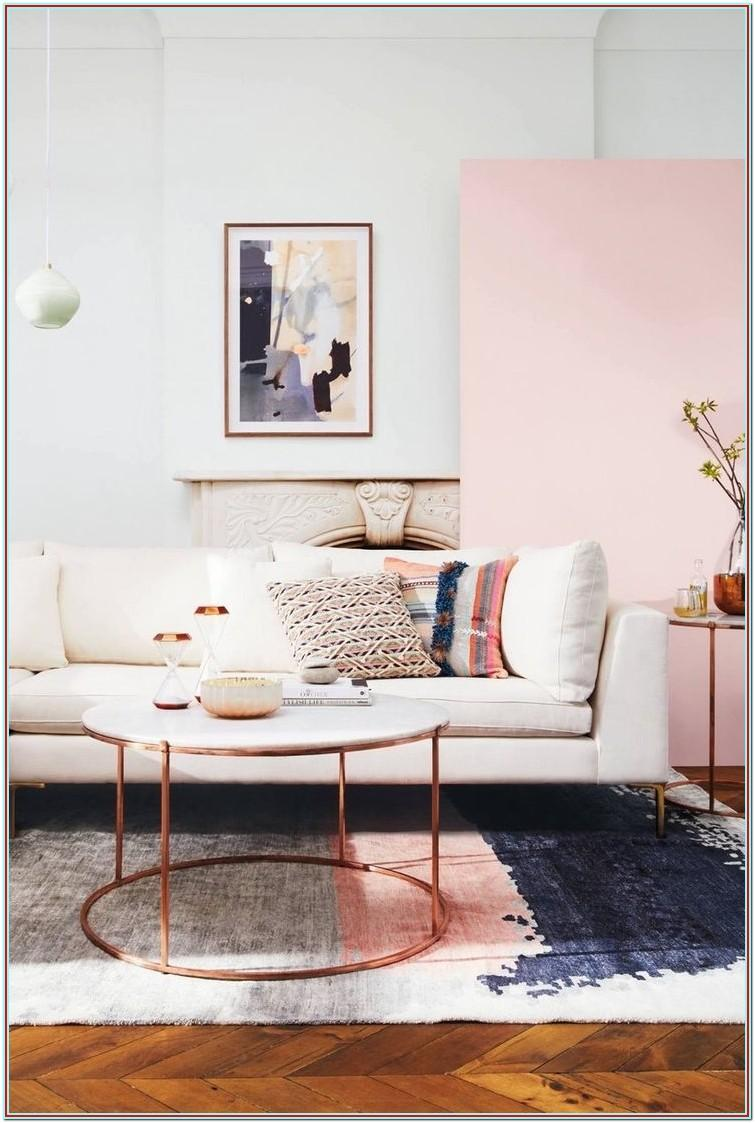 Rose Gold Pink And Brown Living Room