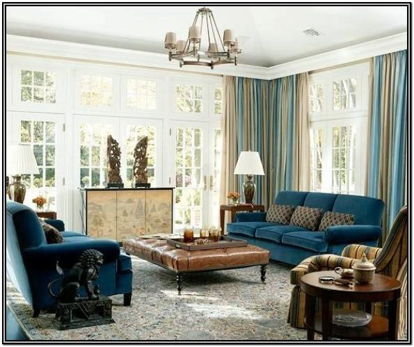 Royal Blue And Beige Living Room