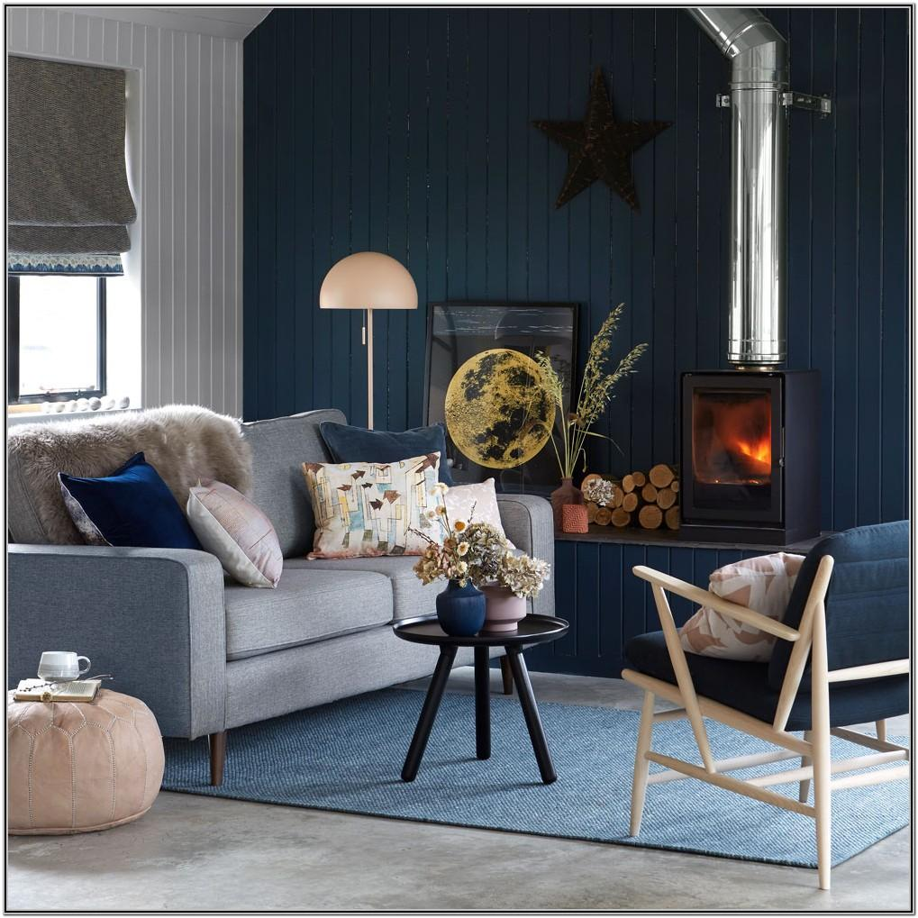 Royal Blue And Gray Living Room Decor