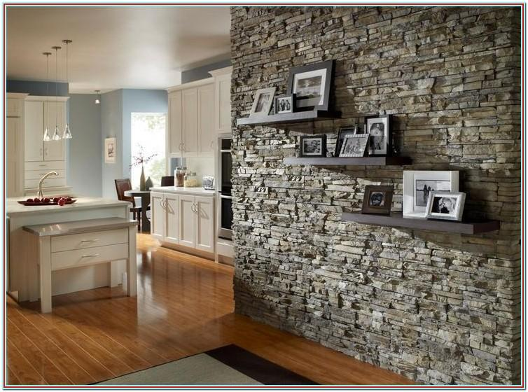Stacked Stone Accent Wall Living Room