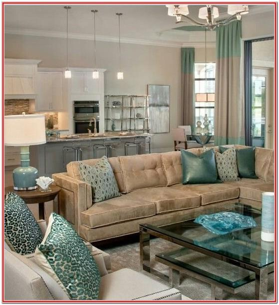 Teal Brown And Yellow Living Room