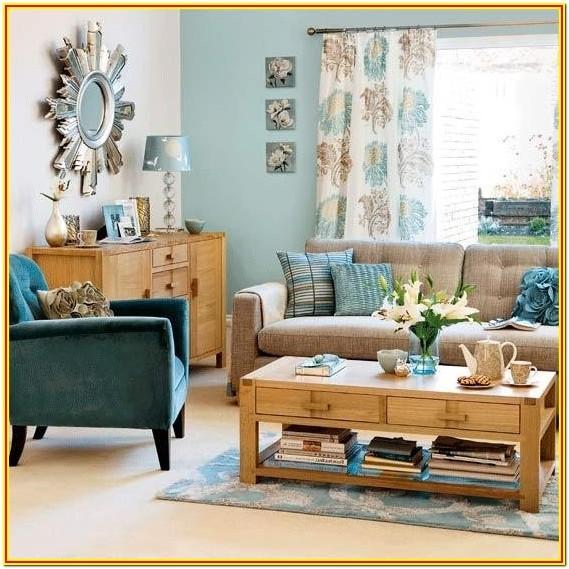Teal Gray And Tan Living Room