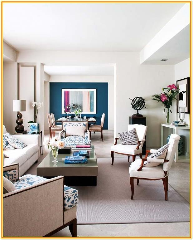 White Living Room With Teal Accents