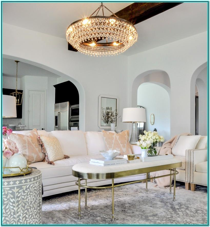 White Pink And Gold Living Room