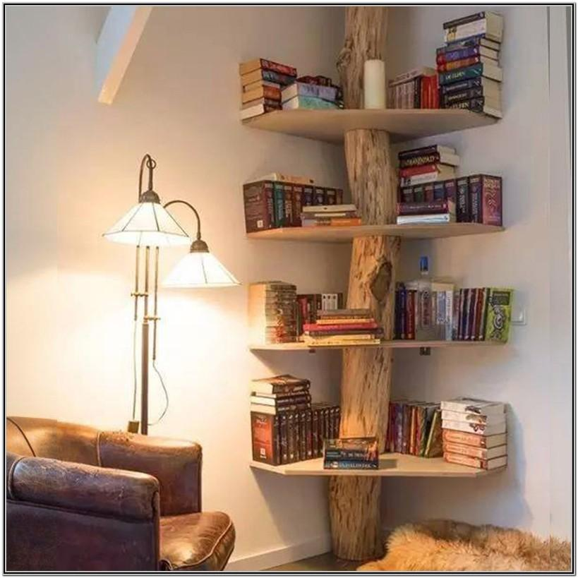 Wooden Corner Shelves Living Room