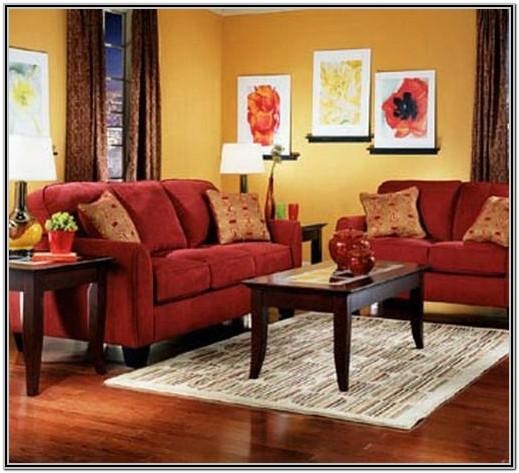 Yellow Living Room With Brown Couch