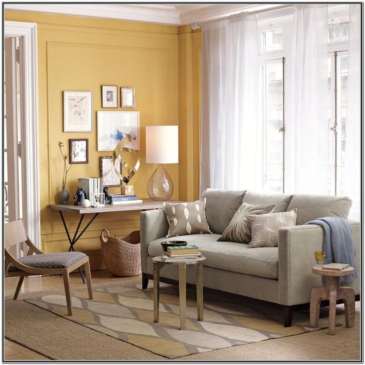 Yellow Walls Grey Couch Living Room
