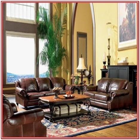 3 Piece Brown Leather Living Room Set