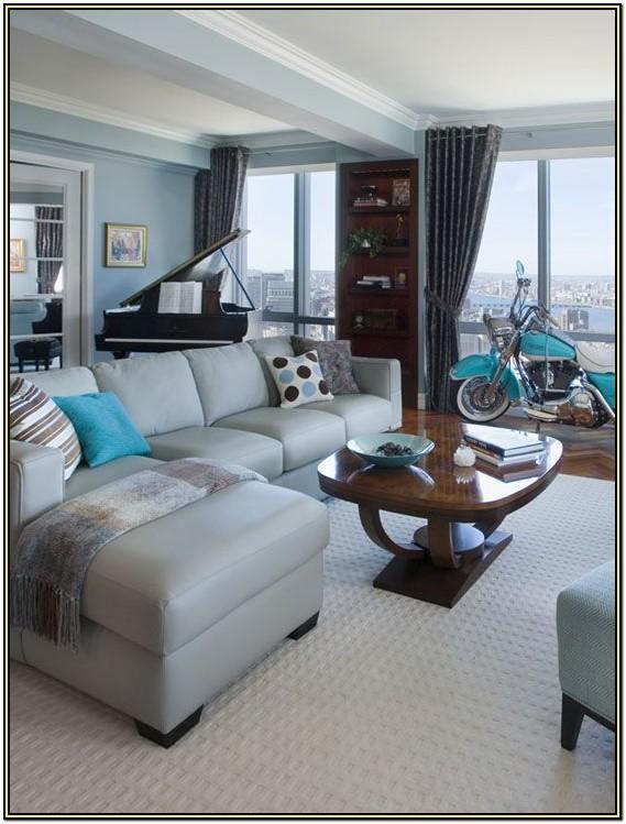 Aqua Brown And Grey Living Room