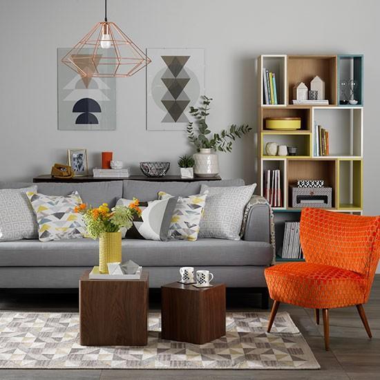Black Grey And Orange Living Room