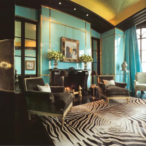 Black White And Aqua Living Rooms