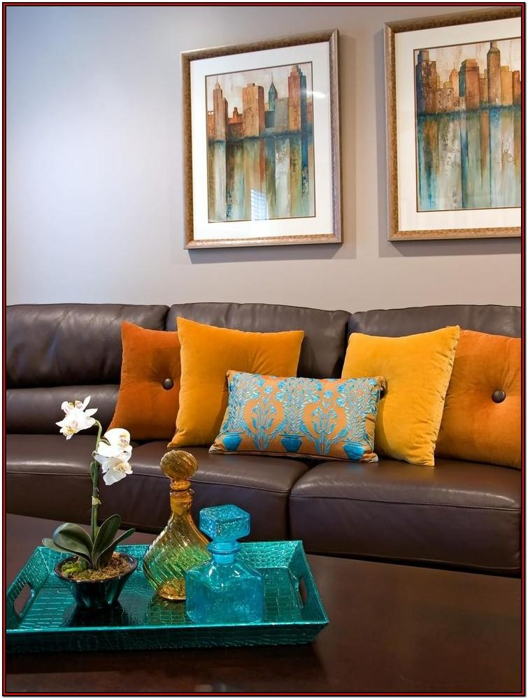 Blue Orange Brown Living Room