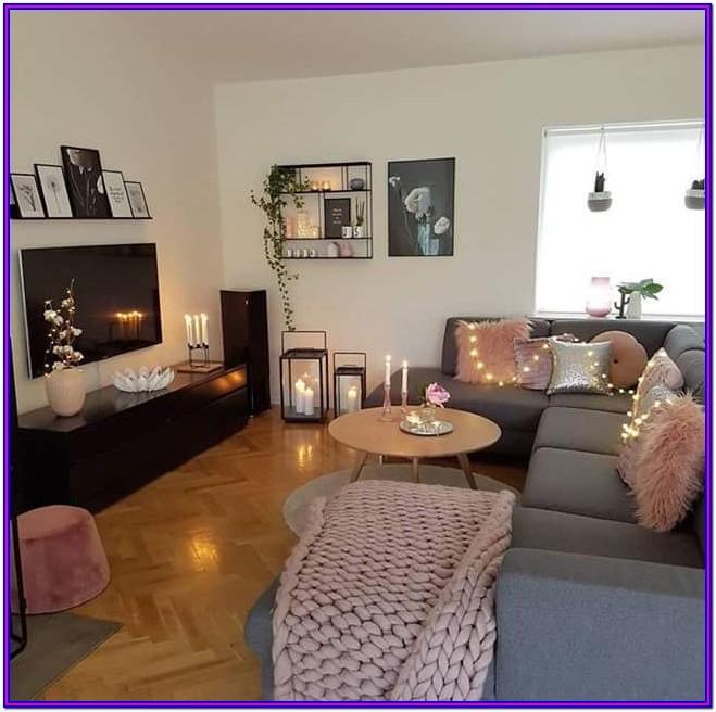 Blue Rose Gold Grey Living Room