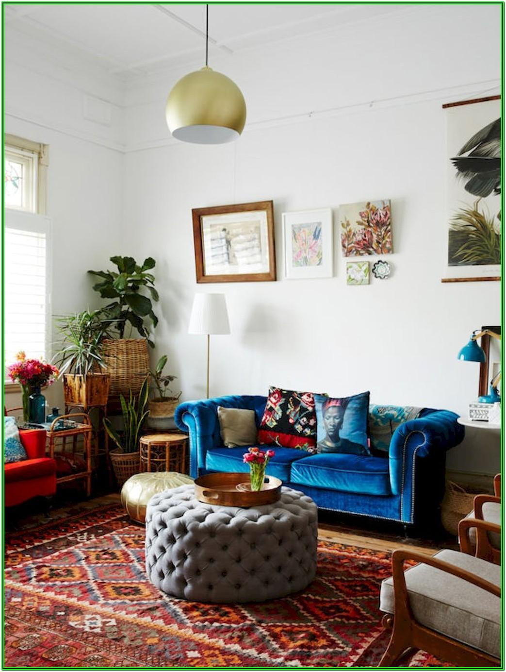 Bohemian Red Couch Living Room