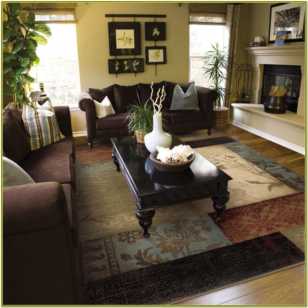 Brown And Burgundy Living Room Rug