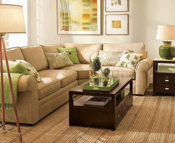 Brown And Sage Green Living Room