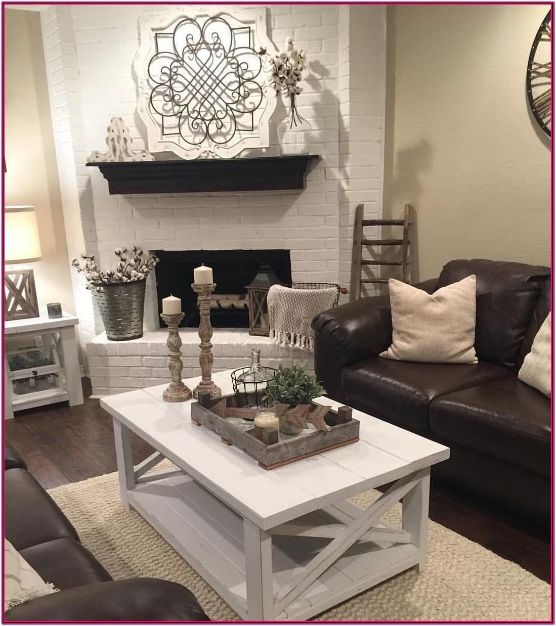 Brown Couch Rustic Farmhouse Living Room
