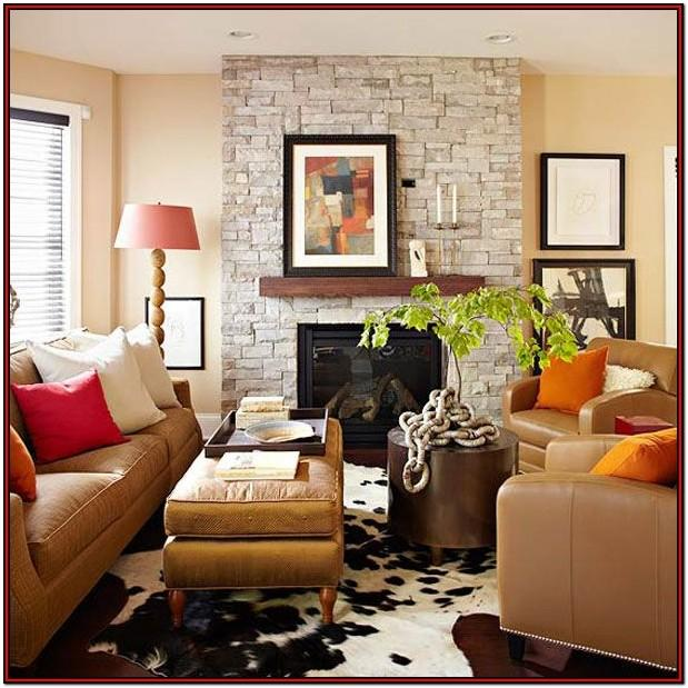Brown Gold And Orange Living Room