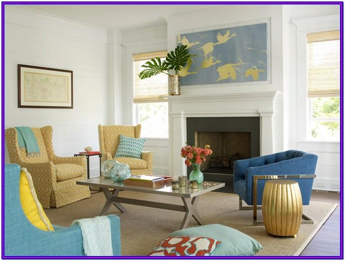 Brown Teal Yellow Living Room