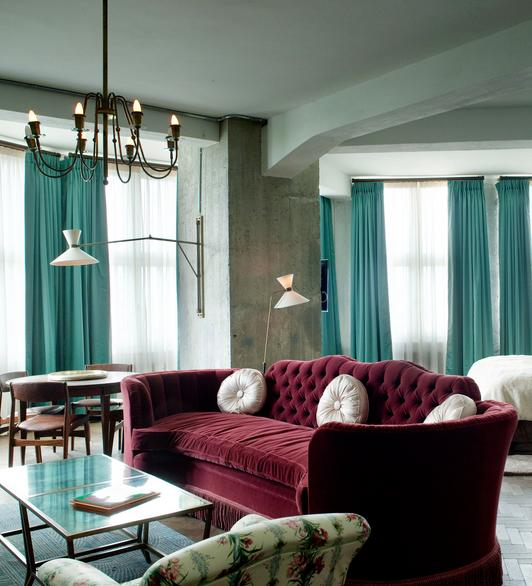 Burgundy And Turquoise Living Room
